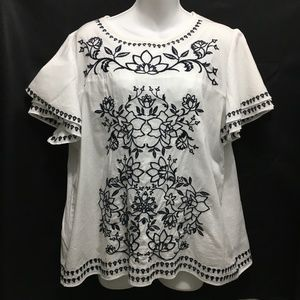 Charter Club embroidered cotton blouse sz Large